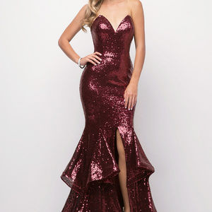 Burgundy Jeweled Sleeveless Prom Long Dress
